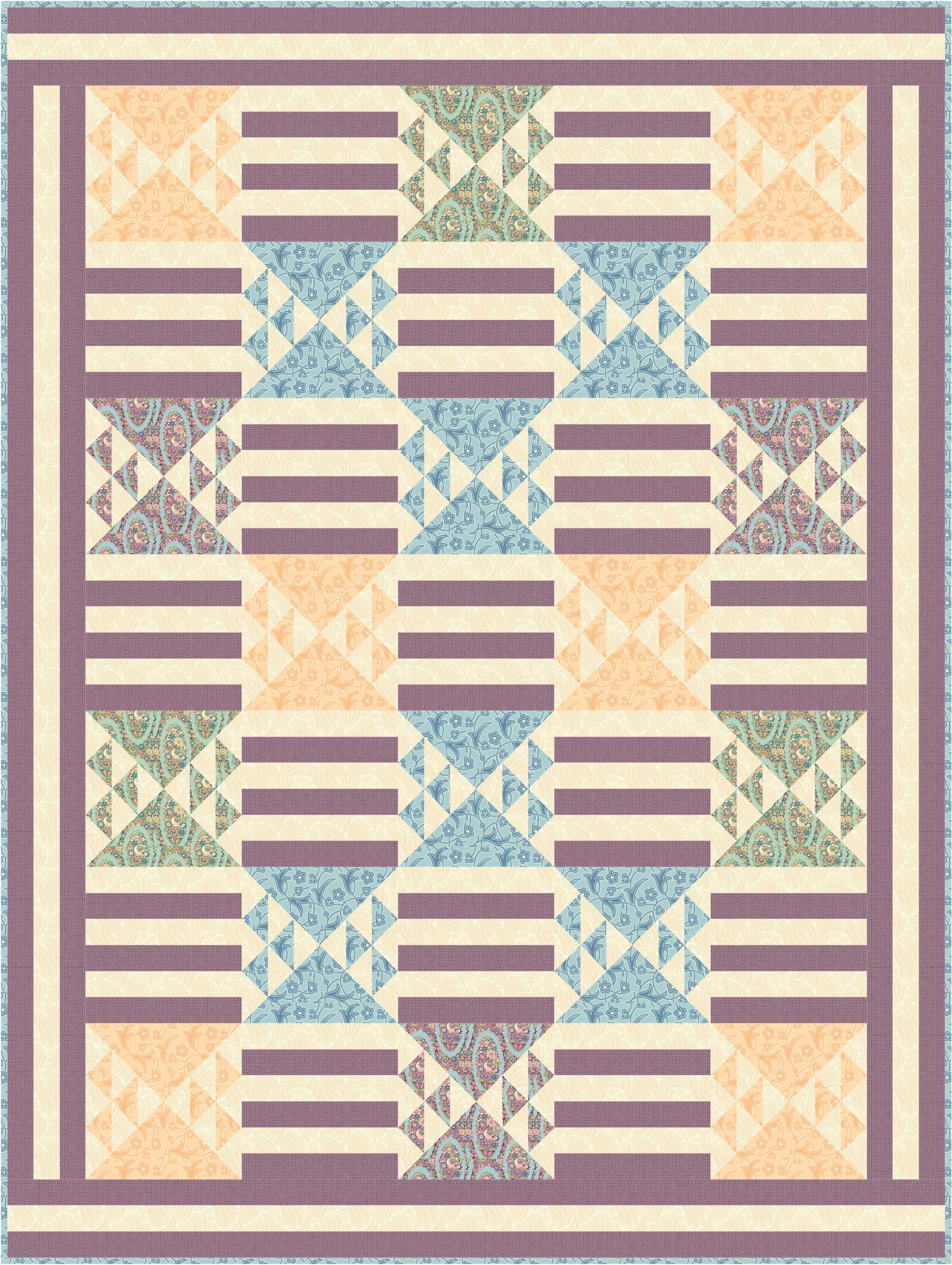 Bar Quilt - Purple & Peach 2 with cream print
